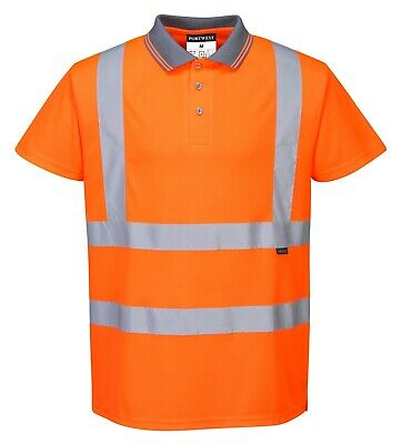 HI VIS LONG SLEEVE POLO SHIRT Top Safety Workwear Fluro Breathable Dry WB
