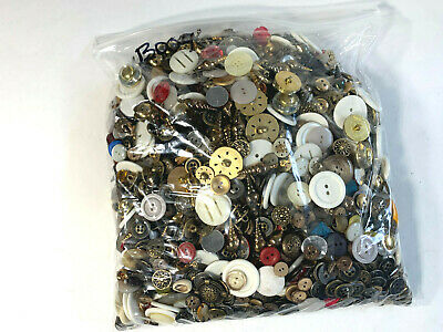 Estate Sale Find Mixed Huge Lot Vtg Sewing Buttons Various Sizes 5 Pound #B0004
