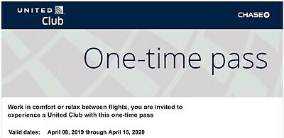 ✈️ United Club One Time Pass EXP 04/15/2020 CHASE E-delivery in 24hr