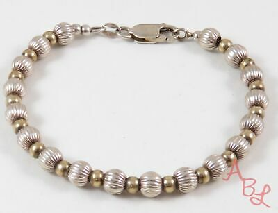 """Sterling Silver 925 Two Tone Gold Over Beaded Bracelet 6.5"""" (9.6g) - 800250"""