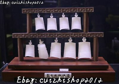 "17"" China white jade carving ancient Seven Bell Horologe Timepiece bells set"