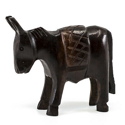 """Unique Hand Carved Ironwood Donkey Burro Mule Figurine Wood Carving 2.5"""" High"""
