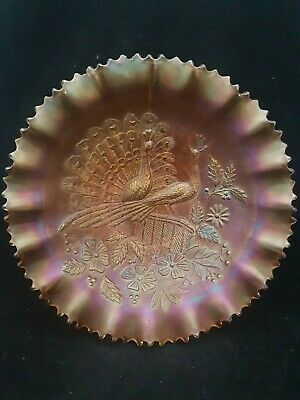 """Rare Antique Carnival Glass Bowl By  Northwood """"Peacocks On A Fence"""" Pattern"""