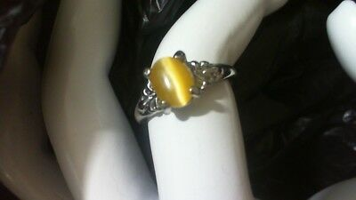 Sterling SILVER Plated Yellow Tigers Eye ring (size 6)  eye moves      9/18/19