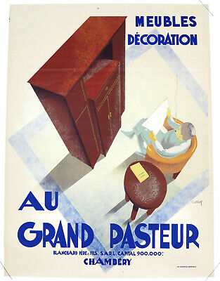 AU GRAND PASTEUR – MEUBLES, DÈCORATION, Originalplakat Frankreich ca. 1930