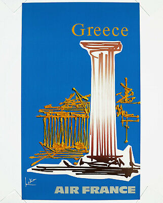 AIR FRANCE - GREECE, Original Travel Poster, 1968 Georges Mathieu