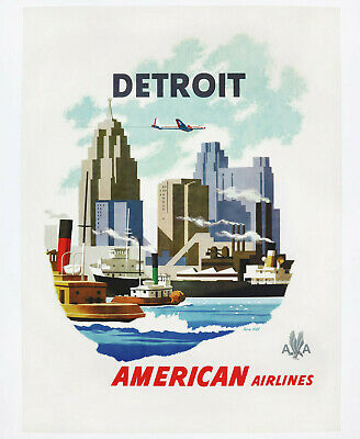 AMERICAN AIRLINES – DETROIT, Original Travel Poster, 1950er-Jahre