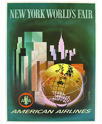 AMERICAN AIRLINES – NEW YORK WORLD'S FAIR, Original Travel Poster, 1964