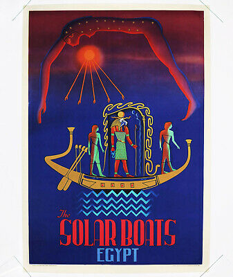 THE SOLAR BOATS – EGYPT Original TourismusTravel Poster Ägypten
