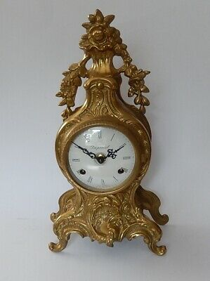 Excellent Franz Hermle Brass Case Twin Bell Strike Mantel Clock 3020
