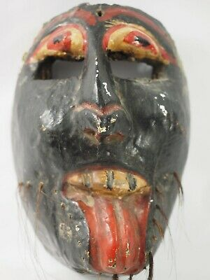 Primitive Antique Wood Tribal Polychrome Mask Probally South Pacific