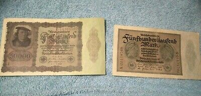 Rare! 1 X 1922 50000 Mark 1 X 1923 500000 Germany Inflation Banknote Collection!