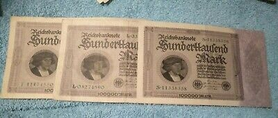 Rare 3 X 1923 100000 Mark Germany Weimar Republic Inflation Banknote Collection