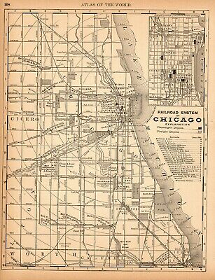 1890 Antique CHICAGO Illinois City Street Map of Chicago Railroads Wall Art 7150