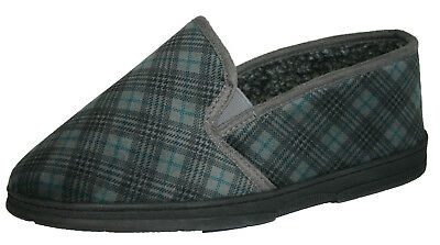 *SALE* Mens Dunlop Wide Fit Slip On Elasticated Twin Gusset Slippers Grey Size 6