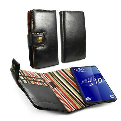 Alston Craig Genuine Leather Magnetic Shell Wallet Case for Galaxy S10 - Black