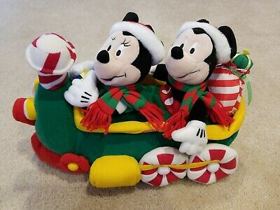 Mickey & Minnie Mouse Plush Singing Disney Candy Cane Christmas Train 2000