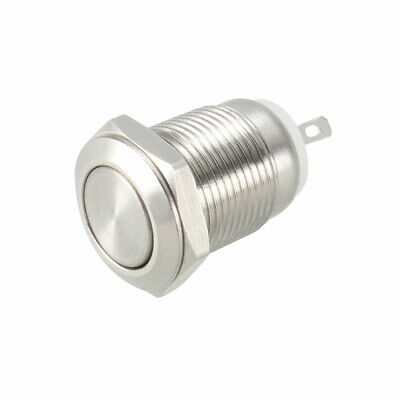 Momentary Metal Push Button Switch Flat Head 12mm Mounting Dia 1NO AC250V 2A