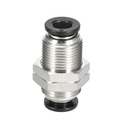 Straight Pneumatic Push to Quick Connect Fittings Bulkhead Union 6mm Tube OD
