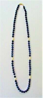 Chinese 14KT Gold Lapis and Pearl Necklace