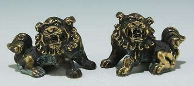 A Modern Pair of Small Chinese Bronze Foo Lions