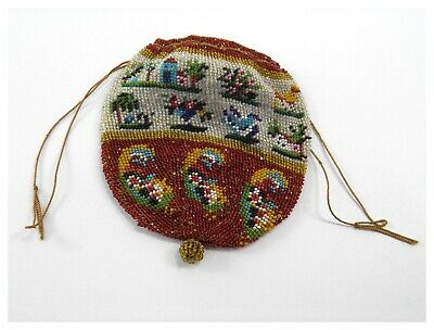Antique 19th century Victorian glass beadwork coin purse pictorial decoration