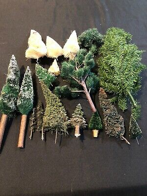 Lot 17 Assorted Artificial Flocked Christmas Trees Bottle Brush