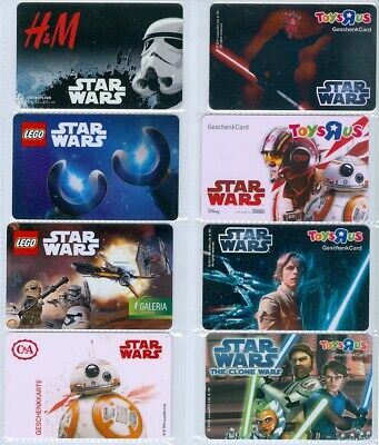 E10-2   11 Different Star Wars Gift Cards - Germany/Austria