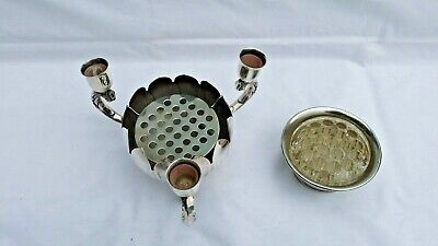 2 Vintage Silver Plated Rose Flower Bowls, 1 Falstaff With Glass Insert.