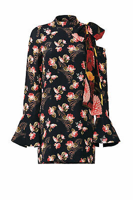 Mother of Pearl Black Women's Size 8 Floral Print Shift Dress Silk $595- #364
