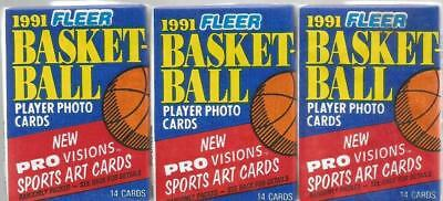 1991 Fleer Basketball Player Photo Cards - Sealed 3 Packs of Trading Cards