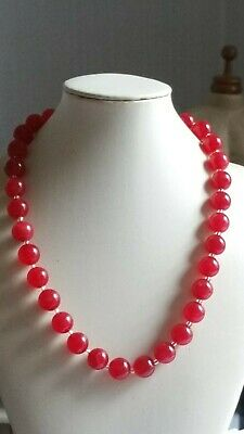 Czech Vintage Art Deco Strawberry Red Glass Bead Necklace