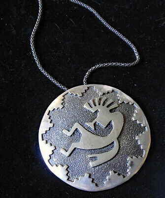 LARGE Old Pawn Native American HOPI Indian Kokopelli MAN Size STERLING Necklace