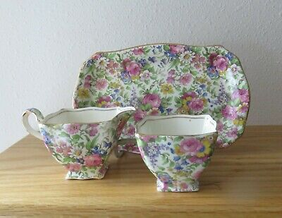 3 pcs Royal Winton Grimwades Summertime Chintz Sugar Creamer and Tray