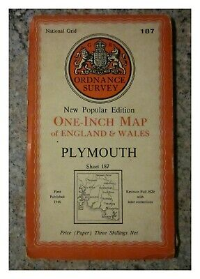 1947 Ordnance Survey Os New Popular Edition One Inch Map, Plymouth, Sheet 187.