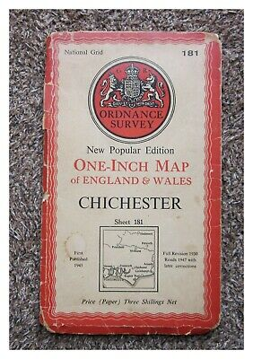 1951 Ordnance Survey Os New Popular Edition One Inch Map, Chichester Sheet 181