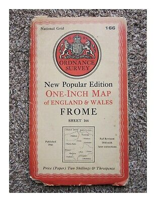 1946 Ordnance Survey Os New Popular Edition One Inch Map, Frome Sheet 166