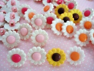 30 Daisy Sun Flower Girl Kids Plastic Sewing Button/white/pink/yellow Sb70-Mix