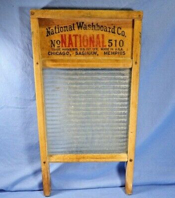 Vintage National Washboard Co. No. 510 Laundry Ribbed Washboard...Chicago,Sagin&