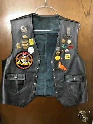 Harley Rider Leather Vest with PIns/Patches - State Rallies, 10th HOG, + others