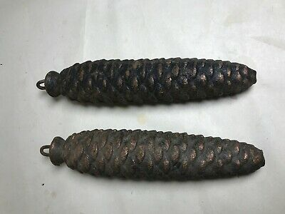 2 Antique Cuckoo Clock Cast Iron 7 Inch Pine Cone WEIGHTS 2 Lb.7 oz Each (A020)
