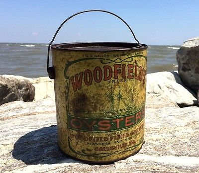 Very EARLY Extremely RARE Woodfield's Oyster TIN PAIL Can 5/6 Imperial Gallon