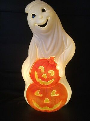 "Blow Mold Grand venture Ghost With 2 Pumpkins 31"" Inches Union Products Made"