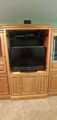 Lexington ENTERTAINMENT CENTER Solid Wood and Glass Cabinets