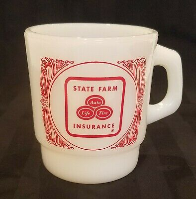 Vintage Fire King State Farm Coffee Mug Cup Like A Good Neighbor Advertising
