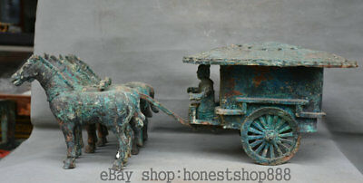 """24.8"""" Rare Antique Old China Bronze Ware Dynasty People Horse Drawn Tram Statue"""