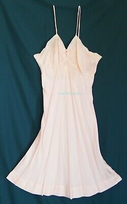 1940s Apricot Pink Satin Slip with key-hole front length approx. 95 cm