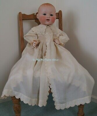 Circa 1900s childs cream silk Coat Frock with pearl buttons length 70 cm