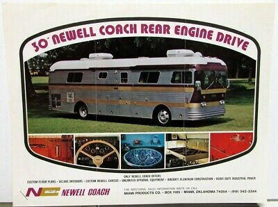 1970s Newell Coach Sale Data Sheets Flyer Rv Motor Home Rear