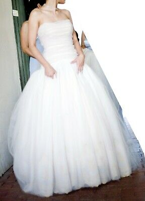 Tulle Wedding Bridal Dress - Blush tulle ball bridal gown, ruched top, strapless
